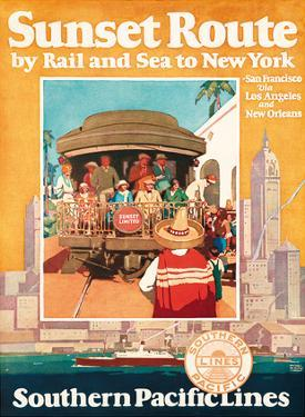 Sunset Route by Rail and Sea to New York - Southern Pacific Lines by Michel Cady