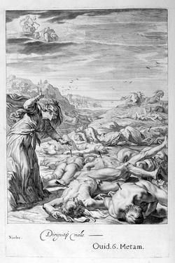 Apollo and Diana Kill Niobe's Children with their Arrows: She Is Turned to Stone, 1655 by Michel de Marolles