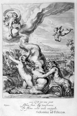 Arethusa Pursued by Alpheus and Turned into a Fountain, 1655 by Michel de Marolles