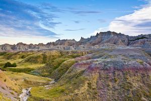 Colored Hills And Valleys, Badlands Loop Trail, Badlands National Park, South Dakota, Usa by Michel Hersen