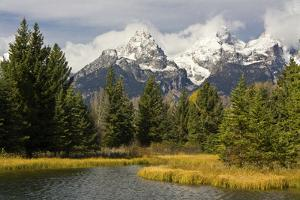 Grand Tetons, from Schwabachers Landing, Grand Teton National Park, Wyoming, USA by Michel Hersen