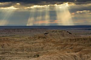 Storm at sunset, Pinnacles Viewpoint, Badlands National Park, South Dakota, USA by Michel Hersen