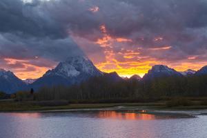 Sunset, Oxbow, Mount Moran, Grand Teton National Park, Wyoming, USA by Michel Hersen