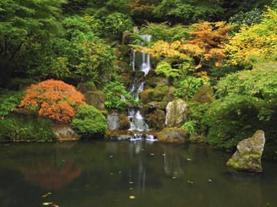 Waterfall in Autumn at the Portland Japanese Garden, Portland, Oregon, USA