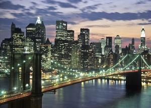 Brookyn bridge and Downtown skyline, NYC by Michel Setboun