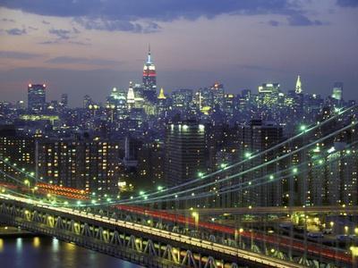 Manhattan Bridge and Skyline at Night