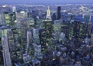 Manhattan skyline at dusk, NYC by Michel Setboun