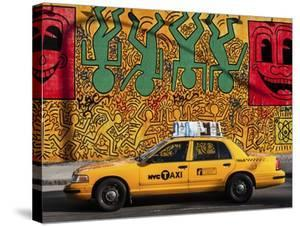 Taxi and mural painting, NYC by Michel Setboun