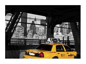 Taxi on the Queensboro Bridge, NYC by Michel Setboun