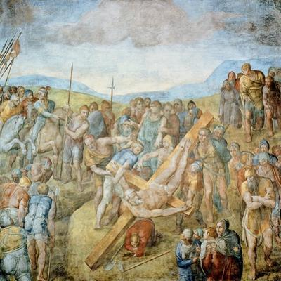 Crucifixion of St. Peter, 1546-50 (Fresco) by Michelangelo Buonarroti