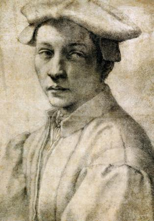 Portrait of Andrea Quaratesi, Around 1532, Black Chalk on Paper by Michelangelo Buonarroti