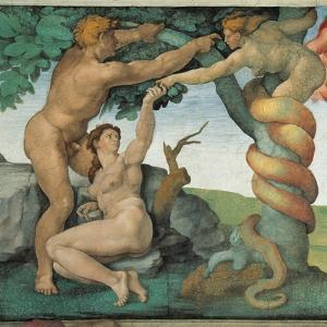 Sistine Chapel, Adam and Eve, Satan, Tree of Life by Michelangelo Buonarroti