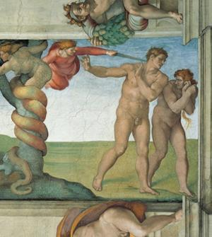 Sistine Chapel Ceiling, Adam and Eve Expelled from Eden by Michelangelo Buonarroti