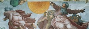 Sistine Chapel Ceiling, God Creating Sun and Moon by Michelangelo Buonarroti