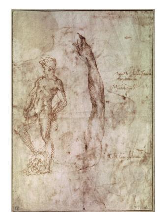 Michelangelo Buonarroti Lamentation Recto C 1530 Canvas Art Print Poster
