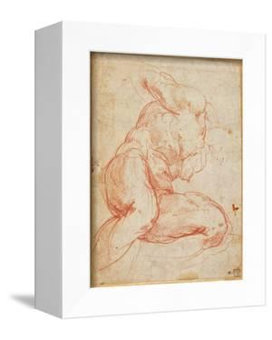 Study of a Nude (Red Chalk on Paper) by Michelangelo Buonarroti