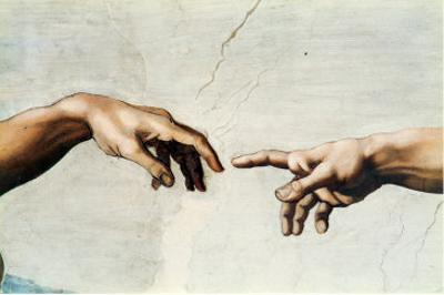 The Creation of Adam, Detail of God's and Adam's Hands, from the Sistine Ceiling by Michelangelo Buonarroti