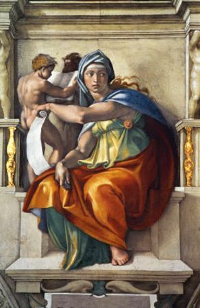 The Sistine Chapel; Ceiling Frescos after Restoration, the Delphic Sibyl by Michelangelo Buonarroti