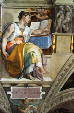 The Sistine Chapel; Ceiling Frescos after Restoration, the Erithrean Sibyl by Michelangelo Buonarroti