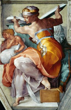 The Sistine Chapel; Ceiling Frescos after Restoration, the Libyan Sibyl by Michelangelo Buonarroti