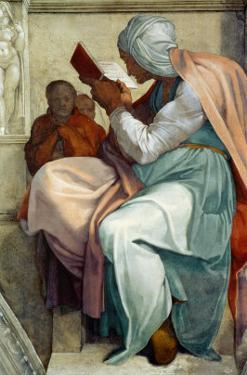 The Sistine Chapel; Ceiling Frescos after Restoration, the Persian Sybil by Michelangelo Buonarroti
