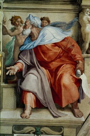 The Sistine Chapel; Ceiling Frescos after Restoration, the Prophet Ezekiel