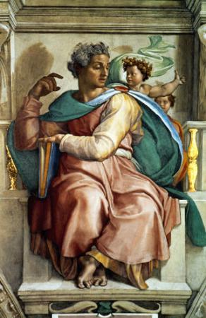 The Sistine Chapel; Ceiling Frescos after Restoration, the Prophet Isaiah by Michelangelo Buonarroti