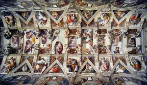 The Sistine Chapel; Ceiling Frescos after Restoration by Michelangelo Buonarroti