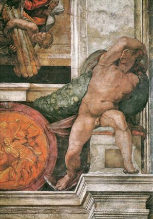 Detail of the Sistine Chapel Ceiling in the Vatican, 1508-1512 by Michelangelo