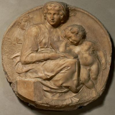 """Saint Mary and child with young Saint John Baptist, """" Tondo Pitti"""",1503. Marble,Inv.93. by Michelangelo"""