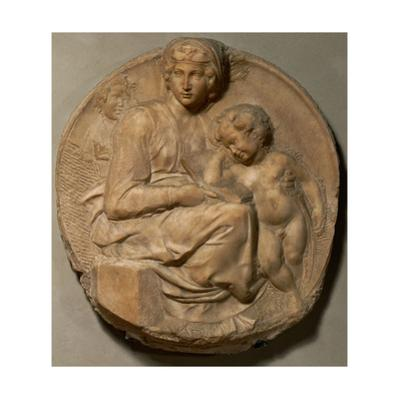 "Saint Mary and child with young Saint John Baptist, "" Tondo Pitti"",1503. Marble,Inv.93. by Michelangelo"
