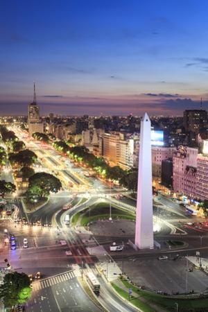 Argentina, Buenos Aires, Avenida 9 De Julio and Obelisk by Michele Falzone