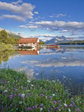 Boathouse and Maligne Lake, Jasper National Park, Alberta, Rockies, Canada by Michele Falzone