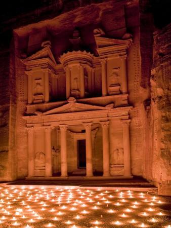 Candle Lit Courtyard of the Treasury (Al Khazneh), Petra (Unesco World Heritage Site), Jordan