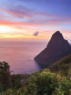 Caribbean, St Lucia, Petit Piton and Anse Des Pitons Beach by Michele Falzone
