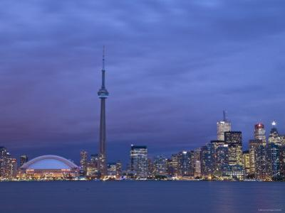 CN Tower and Toronto Skyline at Dusk, Toronto, Ontario, Canada by Michele Falzone