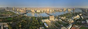 Egypt, Cairo, River Nile and City Skyline Viewed from Cairo Tower, Panoramic View by Michele Falzone