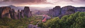 Greece, Thessaly, Meteora, Panoramic View of Meteora and Holy Monastery of Rousanou by Michele Falzone