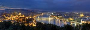 Hungary, Budapest, Castle District, Royal Palace and Chain Bridge over River Danube by Michele Falzone
