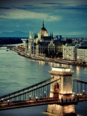 Hungary, Budapest, Parliament Buildings, Chain Bridge and River Danube by Michele Falzone