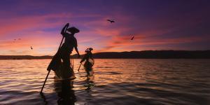 Myanmar (Burma), Shan State, Inle Lake, Local Fishermen at Sunset by Michele Falzone