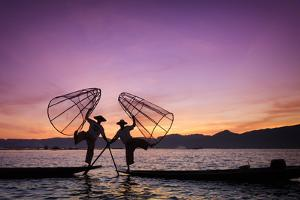 Myanmar (Burma), Shan State, Inle Lake, Local Fishermen at Sunset by Michele Falzone