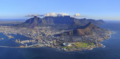 South Africa, Western Cape, Cape Town, Aerial View of Cape Town and Table Mountain by Michele Falzone