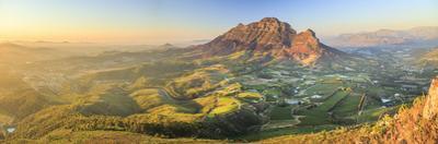 South Africa, Western Cape, Stellenbosch, Aerial view of Simonsberg Mountain range and Stellenbosch by Michele Falzone