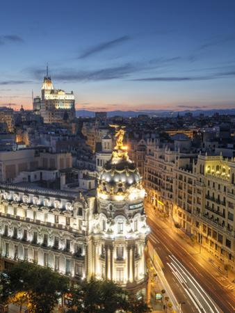 Spain, Madrid, Metropolis Building and Gran Via by Michele Falzone