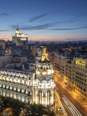 Spain, Madrid, Metropolis Building and Gran Via by Michele Falzone