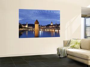 Switzerland, Lucern (Luzern), Chapel Bridge and River Reuss by Michele Falzone