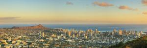 USA, Hawaii, Oahu, Honolulu Skyline and Diamond Head Crater, from Puu Ualakaa State Park by Michele Falzone