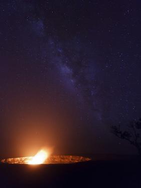 USA, Hawaii, the Big Island, Hawaii Volcanoes National Park, Halema'uma'u Crater and Milky Way by Michele Falzone