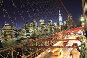 Usa, New York City, Brooklyn Bridge and Lower Manhattan Skyline by Michele Falzone
